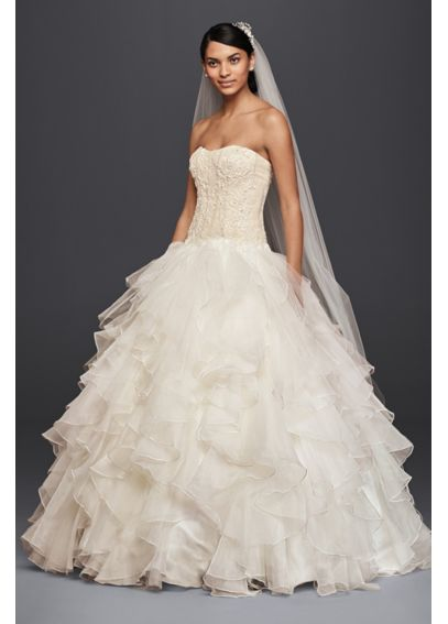 Petite organza ruffle skirt wedding dress davids bridal for Petite wedding dress designers