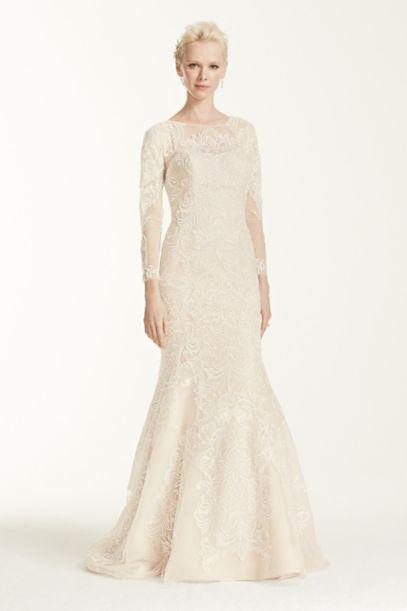 Petite Open Back Long Sleeved Wedding Dress | David's Bridal
