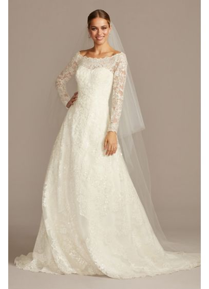 Petite off the shoulder lace a line wedding dress davids for Lace wedding dress davids bridal