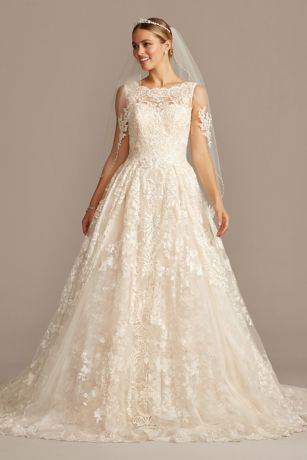 Lace Petite Wedding Dress with Pleated Skirt - Yards of opulently beaded and appliqued tulle create