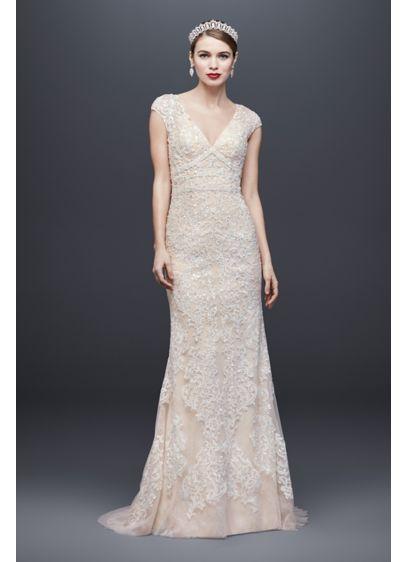 Long Sheath Romantic Wedding Dress - Oleg Cassini