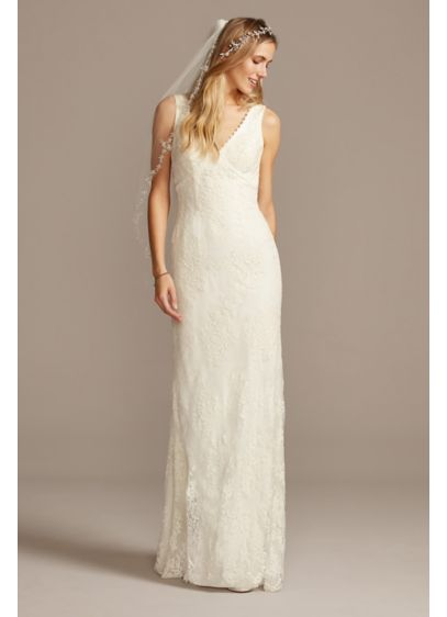 Floral Lace Wedding Dress with Tank Sleeves | David\'s Bridal