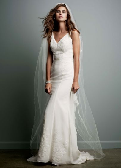 Petite Chiffon Wedding Gown with Ruffle Detail 7MB3491