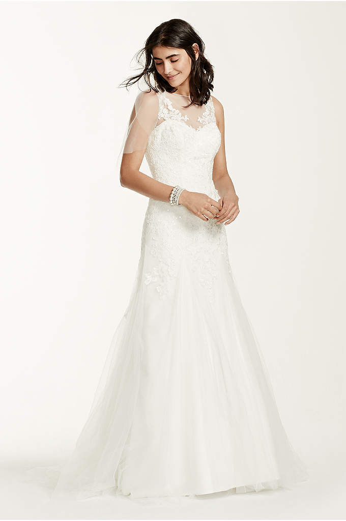 3 4 sleeve lace trumpet plus size wedding dress davids for Plus size trumpet wedding dress with sleeves