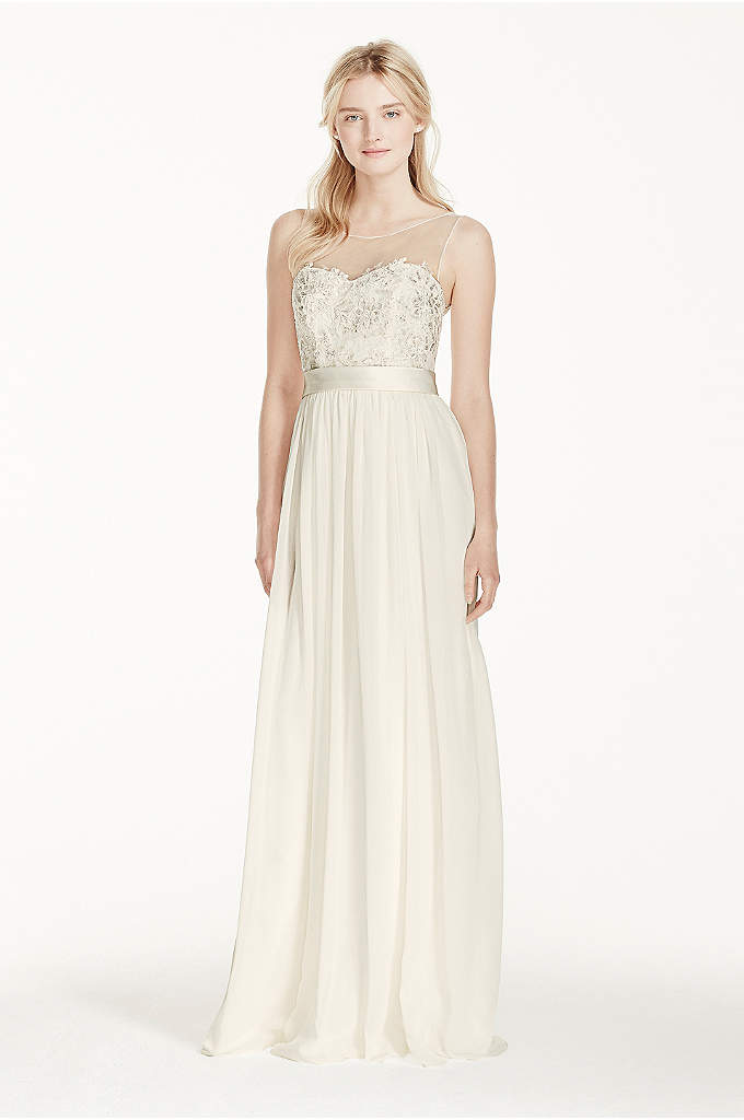 Petite Illusion Tank Chiffon Sheath with Lace - Leave your guests speechless in this stunningly romantic