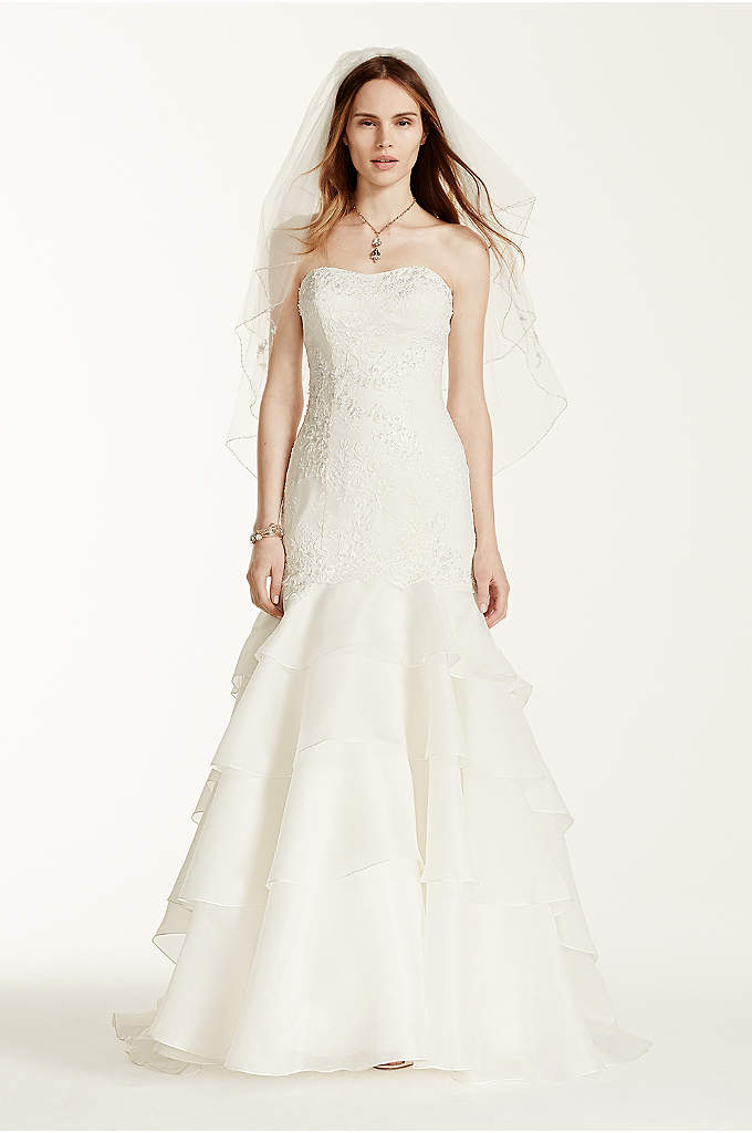 Strapless Satin A Line With Beaded Lace Detail Davids Bridal
