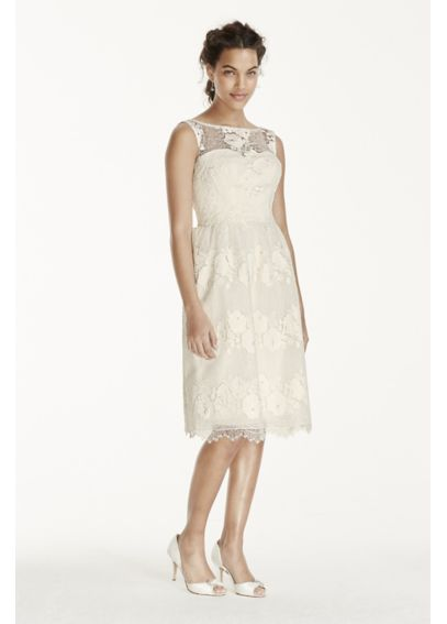 Petite melissa sweet tea length tank wedding dress for Petite short wedding dresses
