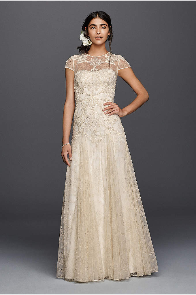 Melissa Sweet Beaded Lace Petite Wedding Dress - A trip to Morocco inspired the gilded motif
