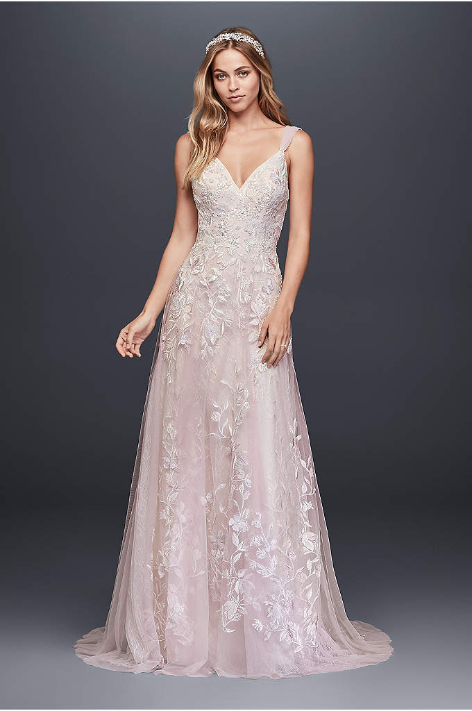 Butterfly Appliqued A-Line Petite Wedding Dress - A dream dress for a true romantic, this