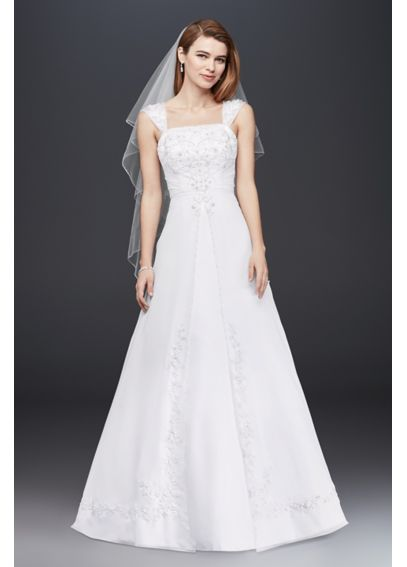 Petite Split Front Wedding Dress with Cap Sleeves 7NTV9010