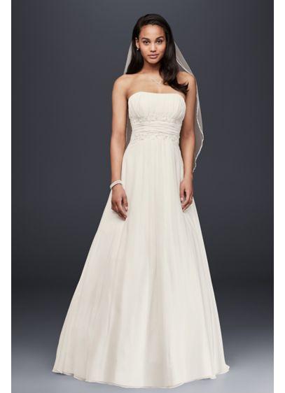 Petite chiffon wedding dress with beaded lace davids bridal long a line beach wedding dress davids bridal collection junglespirit Gallery