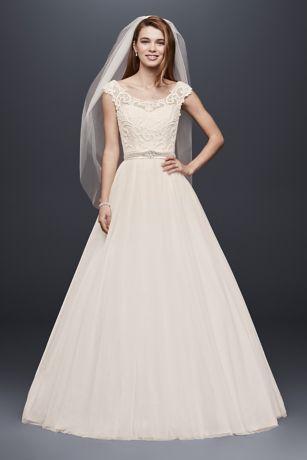 Petite Wedding Dress with Illusion Neckline | David\'s Bridal
