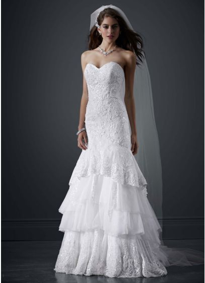 Petite tiered all over lace mermaid wedding dress david for Mermaid wedding dresses under 500
