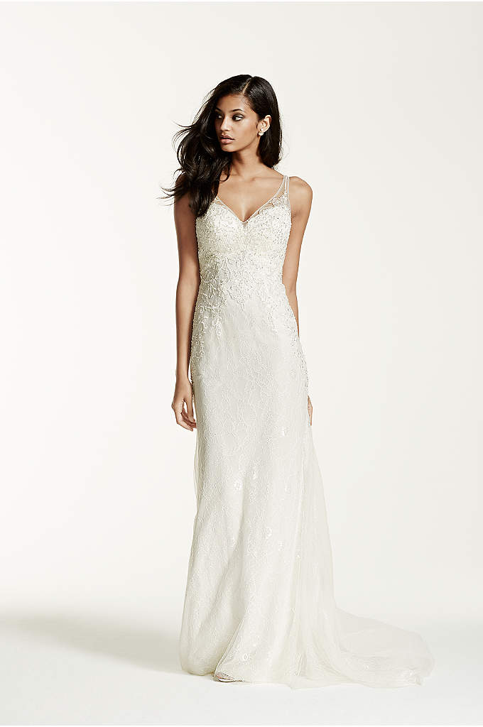 Petite lace over charmeuse gown david 39 s bridal for Petite lace wedding dresses