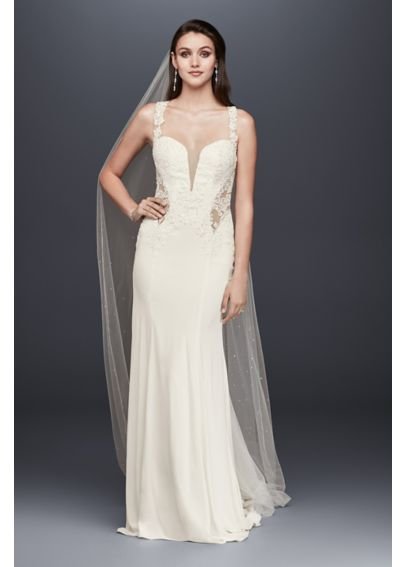 Petite Lace Wedding Dress with Illusion Neckline 7SWG725