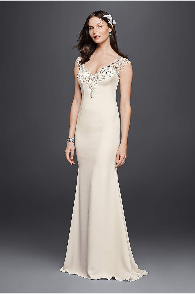 Petite Beaded Stretch Crepe Wedding Dress - Sleek stretch crepe forms the backdrop for 8,600