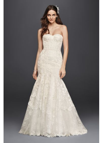 Corseted Petite Mermaid Lace Wedding Dress 7SWG755