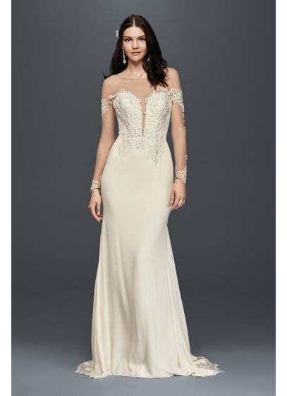 Petite wedding dress with lace inset train david 39 s bridal for Petite lace wedding dresses