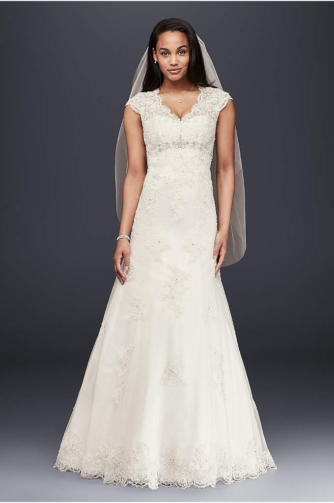 Petite Lace Satin Wedding Dress with Cap Sleeves - Romantic and feminine, this A-line gown mixes subtle