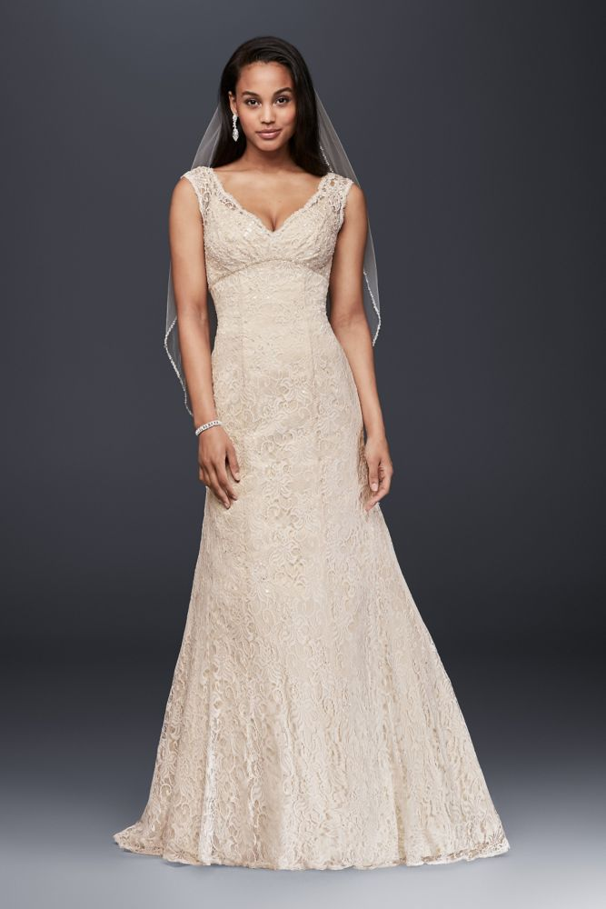 Petite beaded lace wedding dress with cap sleeves style for Petite lace wedding dresses