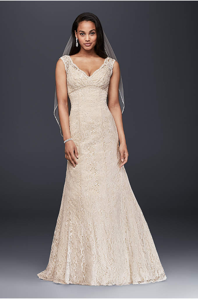 Petite Beaded Lace Wedding Dress with Cap Sleeves - Imagine walking down the aisle wearing this gorgeous