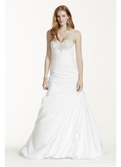 Petite taffeta wedding dress with beaded bustline davids bridal long mermaid trumpet formal wedding dress davids bridal collection junglespirit Choice Image