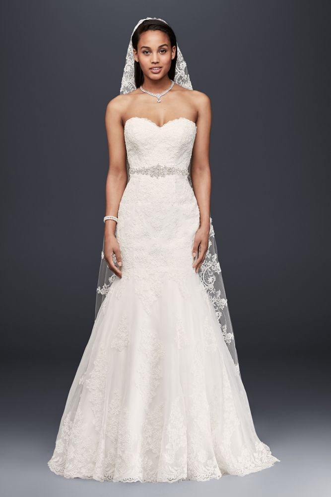 David 39 s bridal petite strapless wedding dress with beaded for David s bridal lace wedding dress