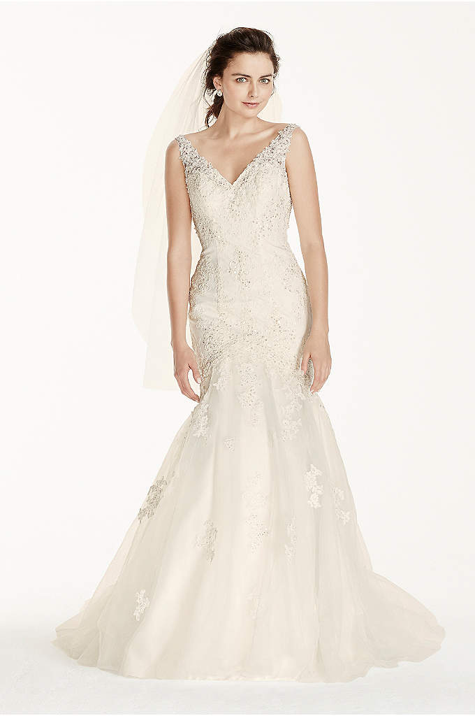 Strapless Mermaid Wedding Gown With Gold Lace David S Bridal