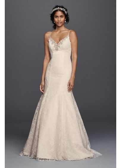 Petite all over lace beaded trumpet wedding dress david for All over beaded wedding dress