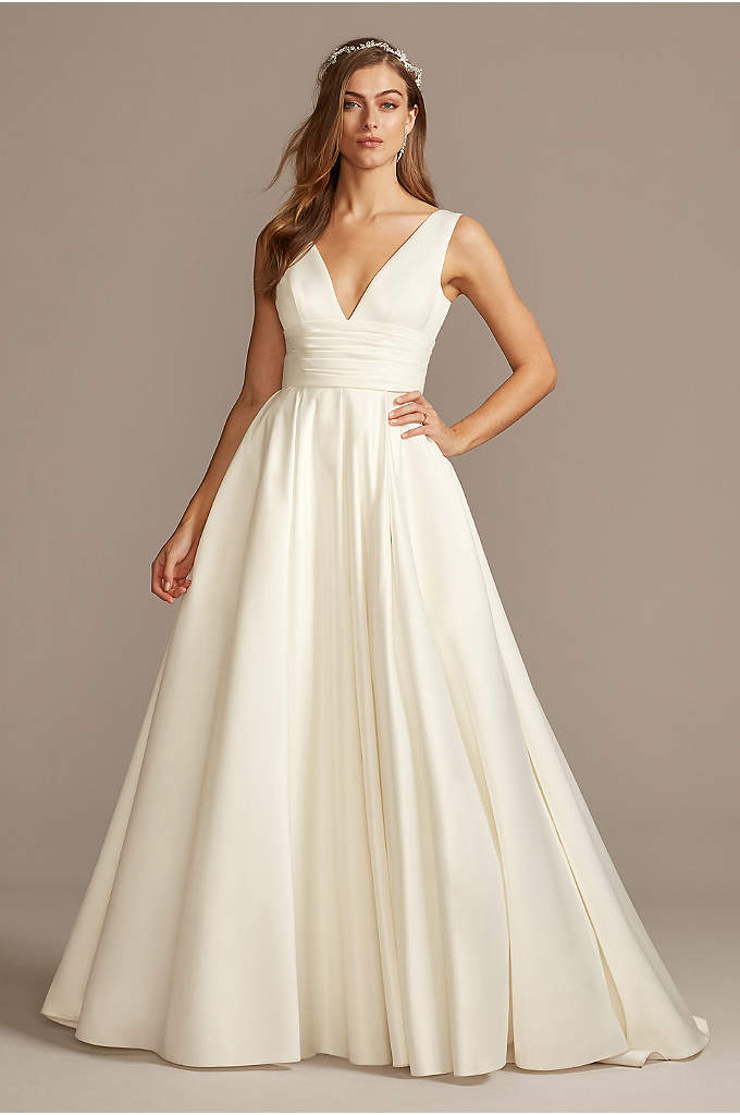 Satin Cummerbund Ball Gown Petite Wedding Dress - A traditional wedding dress with just a hint