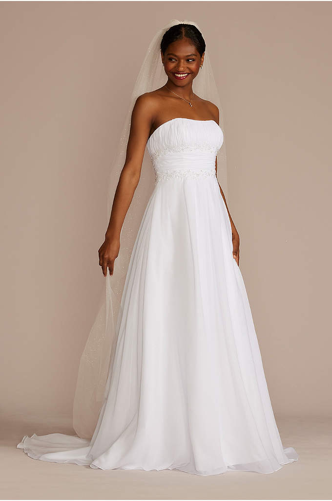 Chiffon Beaded Empire Waist Petite Wedding Dress - Beautifully detailed, fitted bodice flows into a soft