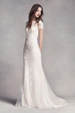 White by vera wang cap sleeve petite wedding dress davids bridal junglespirit Image collections