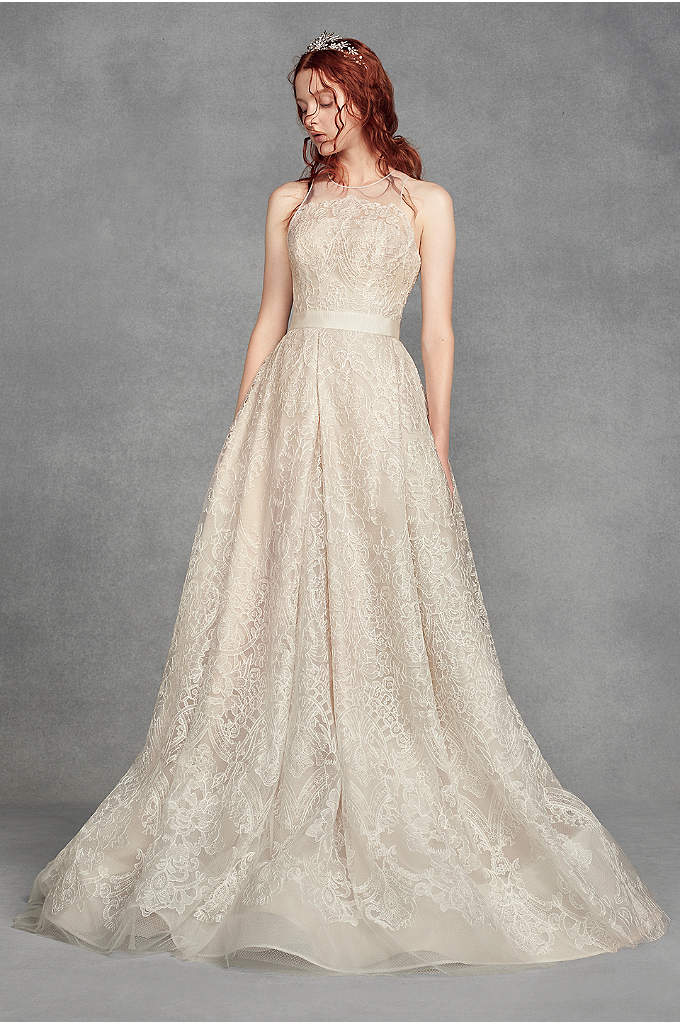 White by Vera Wang Macrame Petite Wedding Dress - This White by Vera Wang A-line gown features