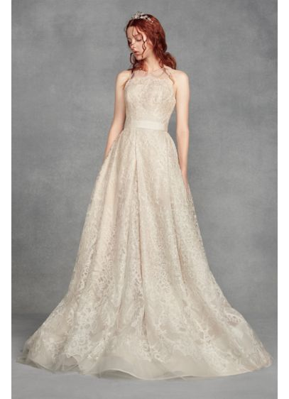 Long A-Line Vintage Wedding Dress - White by Vera Wang