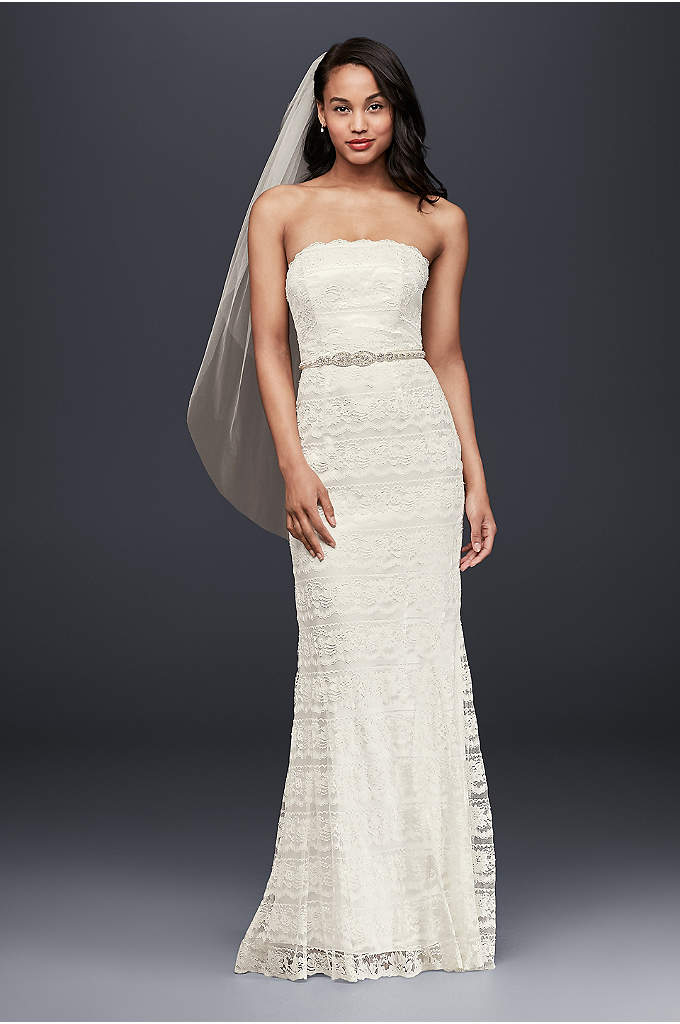 Petite Beaded Lace Sheath with Godet Inserts - Beautifully beaded lace gown is slimming and elegant.