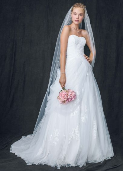 petite tulle wedding dress with laceup back davids bridal