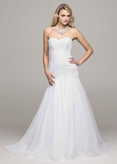 Petite Tulle Wedding Dress with Beaded Drop Waist 7WG3532