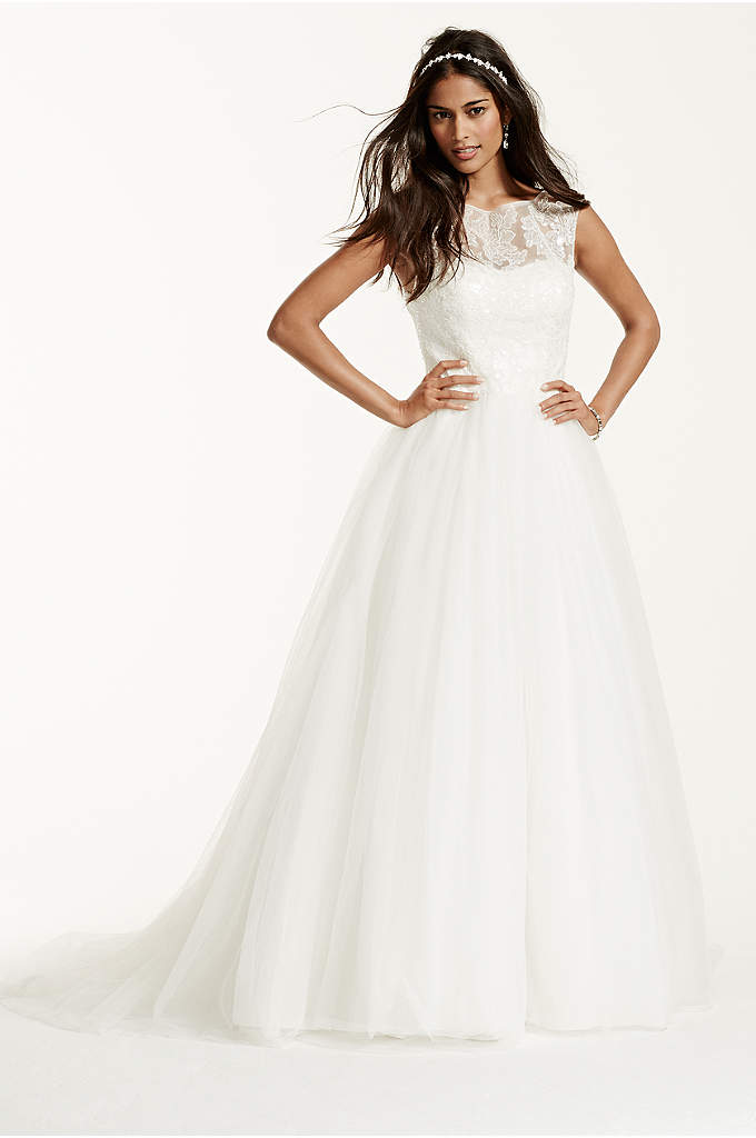 Petite Cap Sleeve Wedding Dress with Lace Neckline