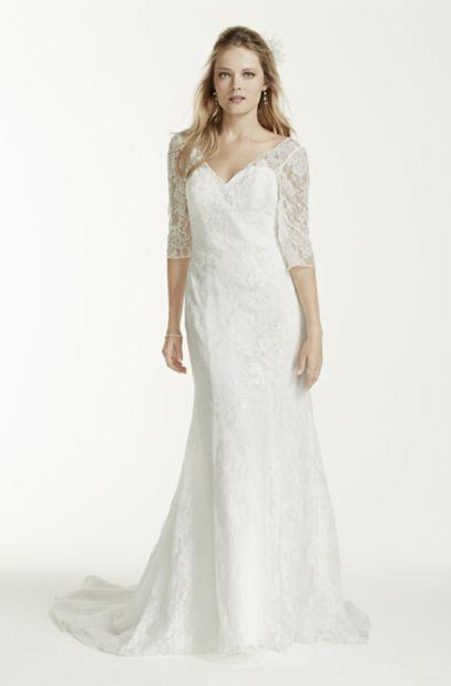 Petite 3/4 Sleeve Lace Trumpet Wedding Dress - Davids Bridal Lace Trumpet Wedding Dresses With Sleeves