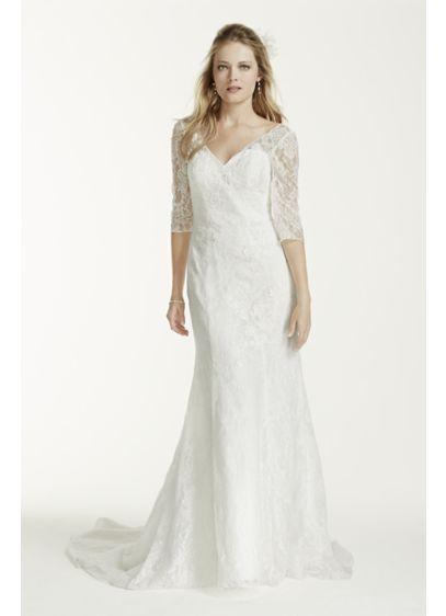 Petite 3 4 sleeve lace trumpet wedding dress davids bridal for All lace wedding dress