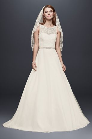 Petite Wedding Dress with Illusion Lace Neckline Davids Bridal