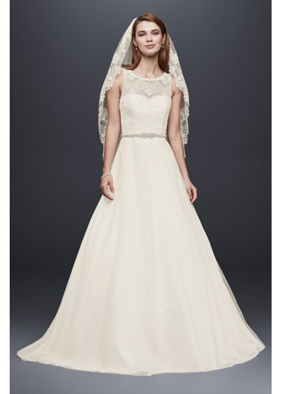 Petite Wedding Dress with Illusion Lace Neckline 7WG3711