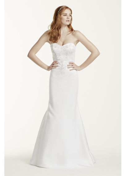 Petite Satin Sweetheart Wedding Dress With Lace 7WG3715