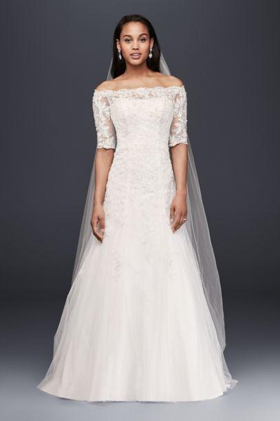 Jewel Off the Shoulder Lace Petite Wedding Dress Davids Bridal