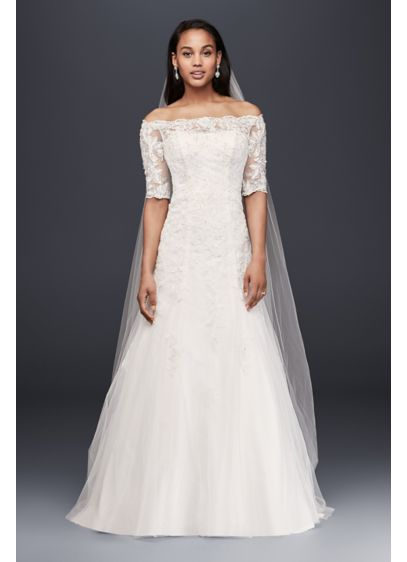 Jewel off the shoulder lace petite wedding dress david 39 s for Petite lace wedding dresses