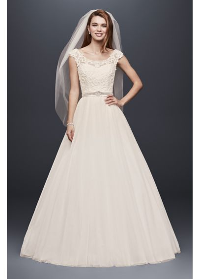 Petite Tulle Ball Gown with Lace Illusion Neckline 7WG3741