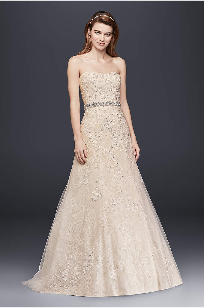 Jewel Lace A-Line Petite Wedding Dress with Beads - Effortless beauty best describes this lace A-line gown!