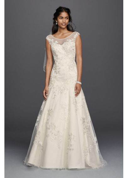 Jewel Cap Sleeve Wedding Dress with Allover Lace 7WG3756