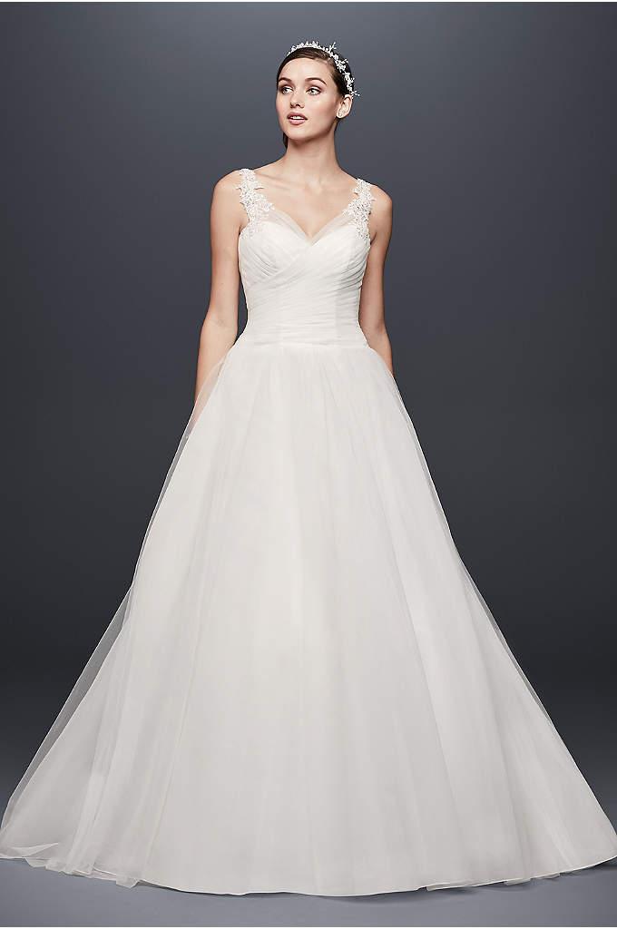 Petite Tulle Wedding Dress With Illusion Straps