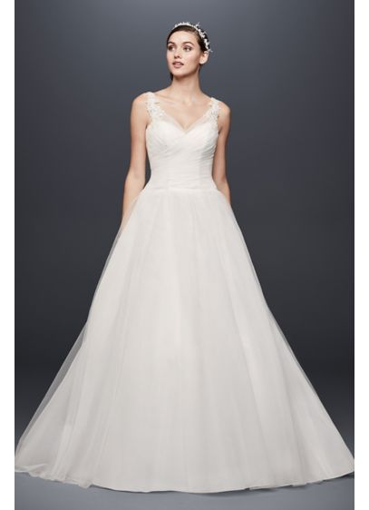 Petite tulle wedding dress with illusion straps davids bridal long ballgown simple wedding dress davids bridal collection junglespirit